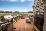 Great patio with view of the river preserve